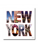 Tableau post card new york blanc