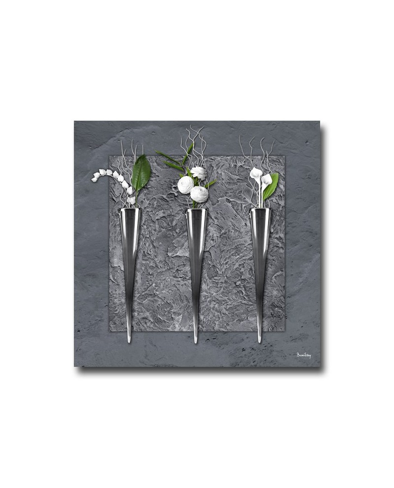 Tableau plexiglass de soliflores gris la for Decoration murale gourmandise