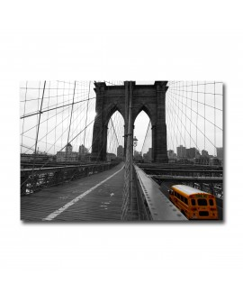 Tableau New York Bus et pont de Brooklyn