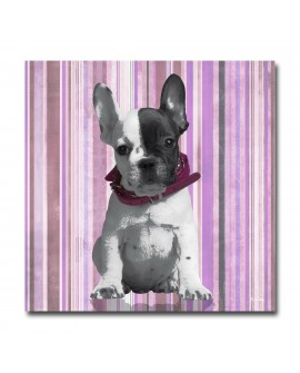 Tableau Chien Lucky Rayé lilas