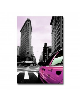 Tableau Déco New York Taxi Rose