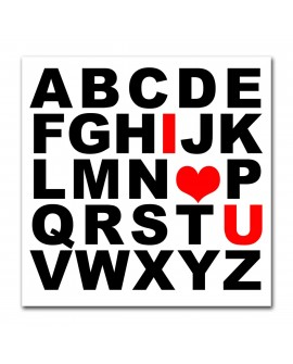 Plexiglass i love u alphabet