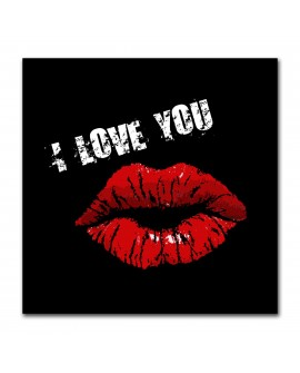 Plexiglass lèvres rouges i love you noir