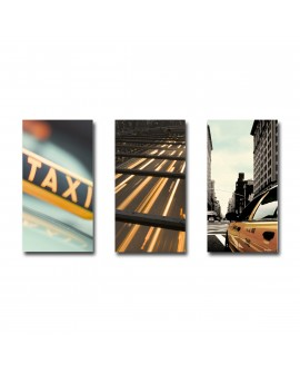 Tableau Triptyque New-York Taxi