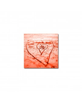 Plexiglass photo coeur dans le sable ocre