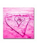 Plexiglass photo coeur dans le sable rose