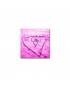 Plexiglass photo coeur dans le sable fushia