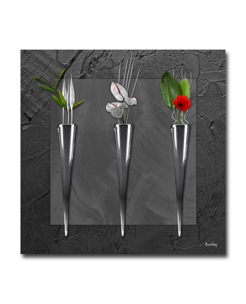 tableau plexiglass d co soliflores noir. Black Bedroom Furniture Sets. Home Design Ideas