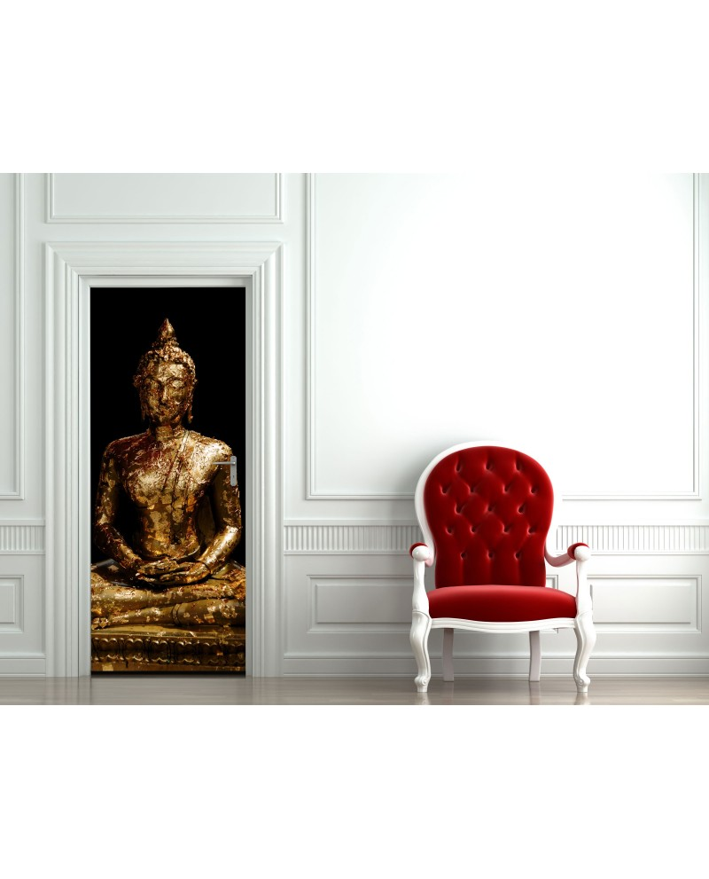 sticker de porte bouddha pour retrouver la s r nit dans votre pi ce. Black Bedroom Furniture Sets. Home Design Ideas