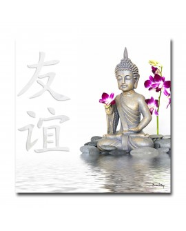 Tableau plexiglass Photo Bouddha Blanc