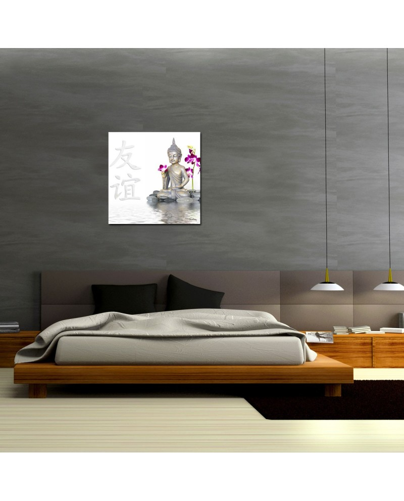 tableau plexiglass photo bouddha blanc la d co zen par. Black Bedroom Furniture Sets. Home Design Ideas